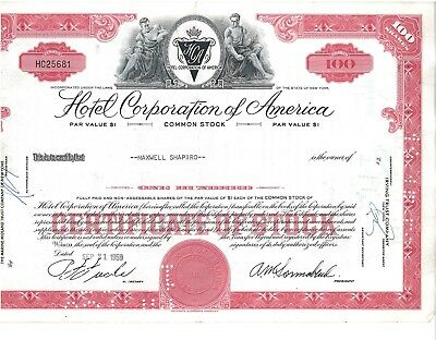 Stock Certificate of Hotel Corporation of America