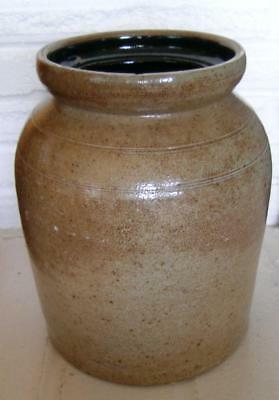 Antique Stoneware Southern Pottery Crock Jar Alkaline Glaze Incised