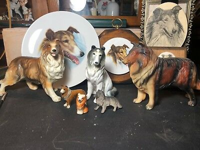 Lot Of Rough Collie Dog Figurines, Plate, Pictures.