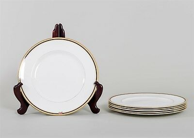 "Set of 6 Wedgwood CLIO Dinner Plates Fine China 10 7/8"" Floral Accent Gold Trim"