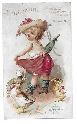 "Prudential Insurance Co. Victorian  Trade Card "" Affectation"" Newark N.j."
