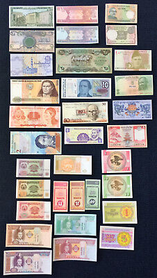 World Banknote Lot - 33 UNC notes - Middle East, South America, Central Asia