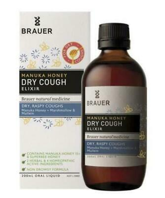 Brauer Manuka Dry Cough Honey Elixir 200mL Non Drowsy