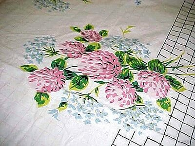 "Pink Blue Flowers on Vintage White Cotton Tablecloth 52x44"" Kitchen Dining Room"