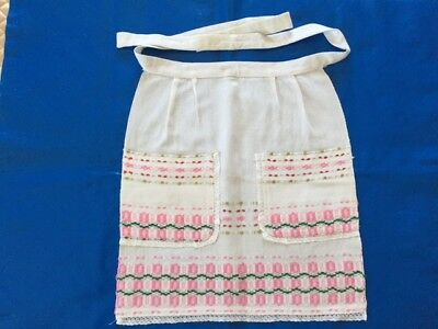 Vintage 90's Russian USSR Girls' Handmade Cotton/ Linen Half Apron w/Embroidery