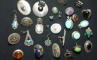 VINTAGE STERLING .925 SILVER Mostly Southwestern  earring LOT 135+/-GRAMS LOT R3