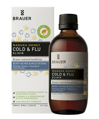 Brauer Manuka Honey Cold & Flu Elixir 200mL For Body Aches & Mild Fevers