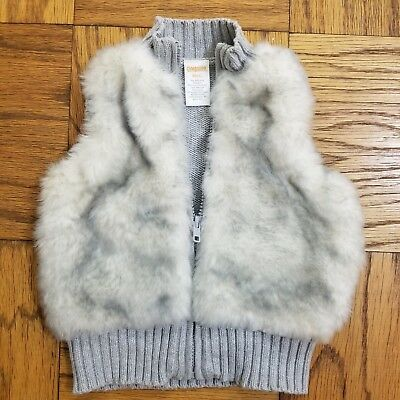 EUC Gymboree Sz XS/4 Grey Zippered Faux Fur Sweater Vest