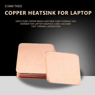 10pcs 0.5mm Pure Copper Heatsink Shim Thermal Pad for Laptop Graphics Card FT