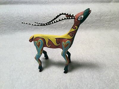 Oaxacan Mexican Folk Art Painted Antelope Signed Juventino Melchor