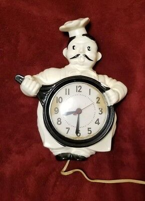 Vintage 1940's Sessions Chef Kitchen Wall Clock  WORKS