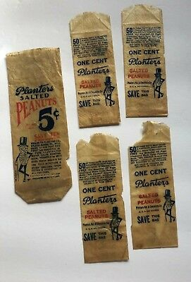 Planters Peanuts One Cent Wax Paper Servers Advertising