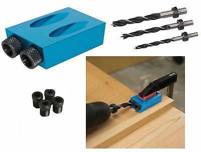 Silverline Pocket Hole Screw Jig c/w Dowel Drill Set Wood Joint Tool Carpenters