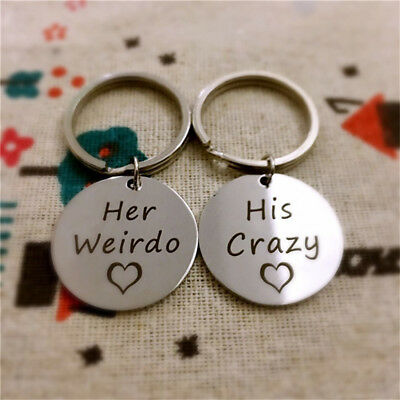 Silver Heart Shape His Crazy Her Weirdo Stainless Steel Keychain Couple Keyring