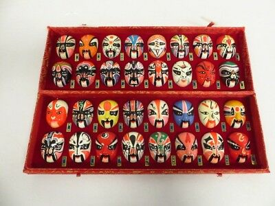 Set of 32 Chinese Beijing Hand Painted Miniature Porcelain Opera Masks