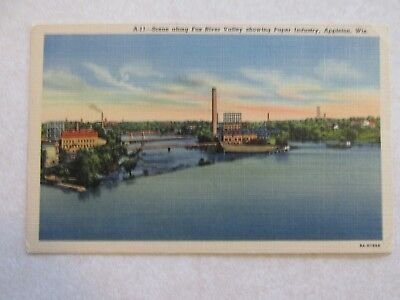 E289 Postcard Fox River Valley Paper Industry Appleton Wisconsin WI