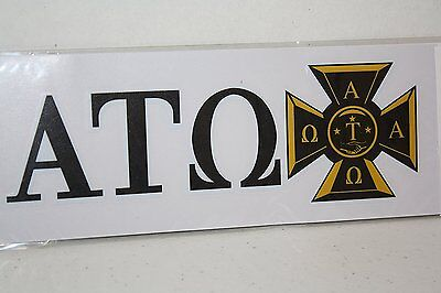 100-pack of Alpha Tau Omega Sticker of Letters & Crest for Outside Glass, Car