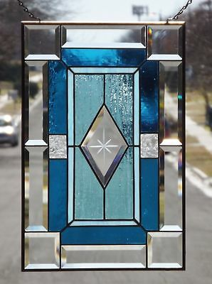 "SHINE ON!-Beveled Stained Glass Window Panel • 20 3/8"" x13 3/8"""