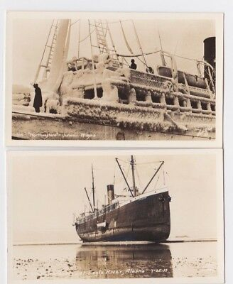 "RPPC Lot of Two of the Ship ""Northwestern"" in Two Parts of Alaska"