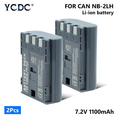 2Pcs 1100mAh NB2LH NB-2LH Battery For Canon EOS 350D 400D Digital Rebel XT XTi