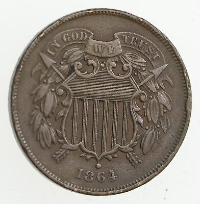 **TWO CENT** 1864 US 2 Cent Piece - First Coin with In God We Trust Motto *259