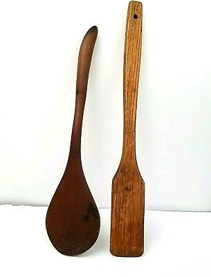 Lot of 2 Antique Primitive Wooden Kitchen Spoons Paddles Solid Wood