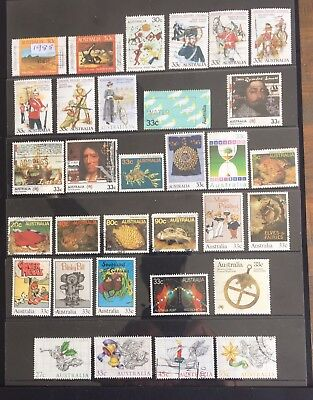 1985 Selection 32 Fine Used Australian Stamps Incl.Sets.