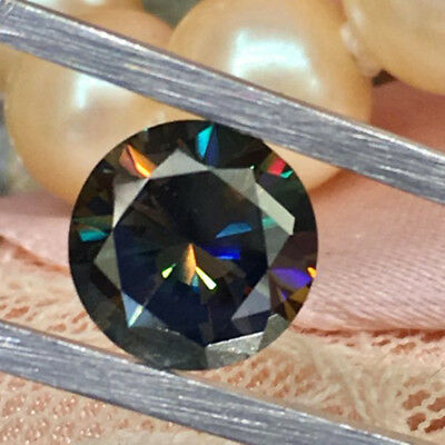 1.20 Ct Black Blue Round Shape Cut 6.70 mm Loose Moissanite For Ring