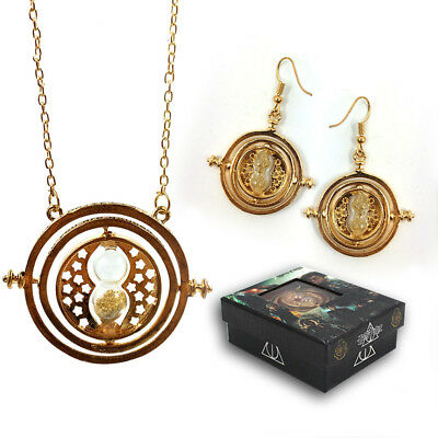 Harry Potter HP Harry Golden Time Turner Hourglass  Necklace Earrings Box Set