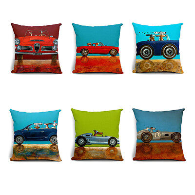 Cartoon Dog Driving Car Cotton Linen Pillow Decor Cushion Cover L