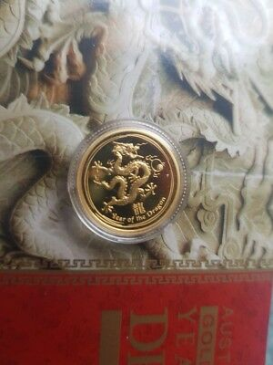 2012 1/10th oz Gold Year of the Dragon Coin 99.99% Perth Mint Proof