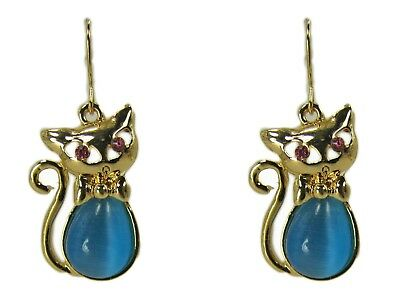 Cute Cat Earrings with Blue Cats Eye Stone and Pink Crystal Eyes - NEW