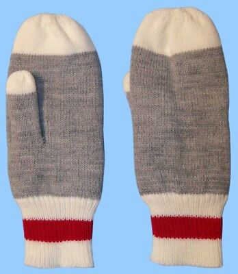 New MENS Large-XL WORK SOCK MITTENS-RIB KNIT GREY/RED/WHITE 100% ACRYLIC
