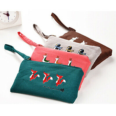 Animal Cosmetic Pen Pencil Case Bag Canvas Coin Pouch Make Up Purse Holder L