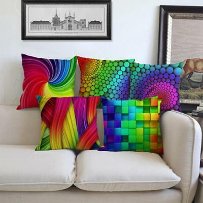Long  Vintage Square Rainbow Multicolor Home Polyester Linen Pillow Case Cover L