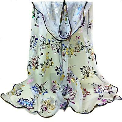 Women Flower Embroidered Lace Scarf Long Wrap Shawl Stole Pashmina Fancy - L