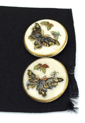 Japanese Satsuma Porcelain pair of painted butterfly buttons sewing craft