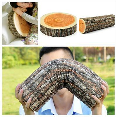 Soft Log Cushion Pillow Wood Throw Seat Home Nature Design Rest Sofa Decor L