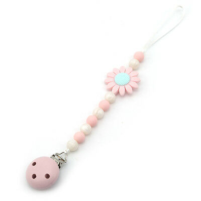 Wood Beads Chain Teether Pacifier Clips Infant Baby Soother Teething Toy L
