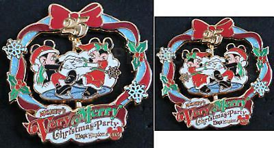 Disney Pin 66339 WDW Very Merry Christmas Party Spinner 2008 Mickey Minnie LE #