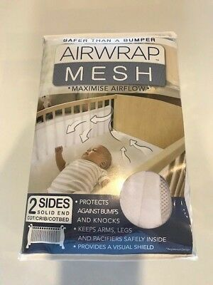 The Little Linen Airwrap Breathable Mesh 2 Side Bumper - White - USED