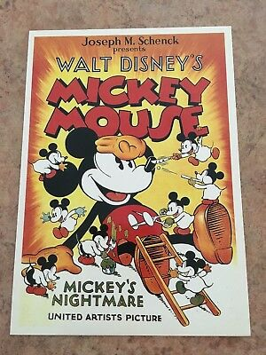 Vintage Walt Disney Mickey Mouse Movie Art Postcard Lot Of 10