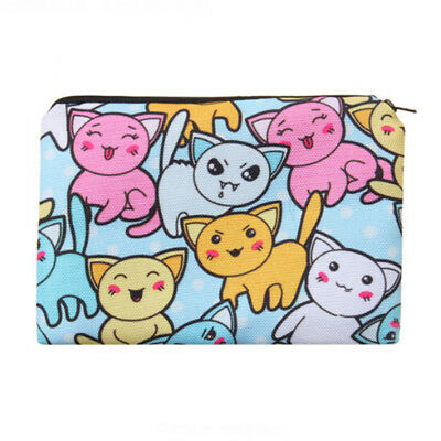 Girls 3D Cat Make Up Cosmetic Bag Travel Wash Toiletry Pencil Coin Purse L