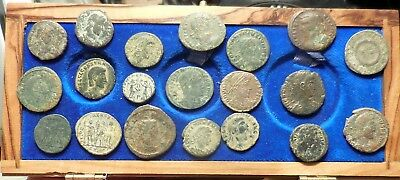 Lot of 20 Fine to VF Ancient Roman Coins: Largest 21 mm, Good Mix!