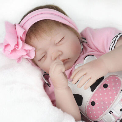 Pink Cow Eyes Close Reborn Baby Doll Soft Simulation Realistic Alive Girl Toy