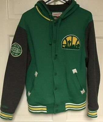 8ee27e60d99 Mitchell & Ness Hardwood Classic Seattle SuperSonics Hoodie Jacket, Mens M