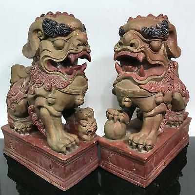 """Antique 2pc 13"""" RARE Chinese Carved Wood Foo Dog Art Statue Sculptures"""