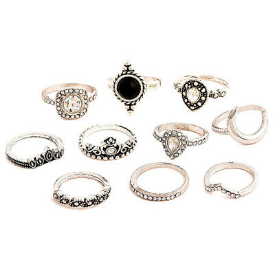 11Pcs/Set Vintage Retro Style Joint Knuckle Moon Crown Bohemian Ring Jewelry L