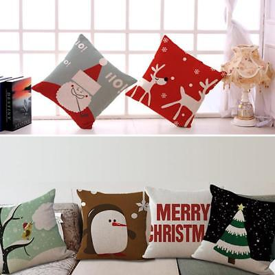 Christmas Xmas Home Decor Linen Cotton Throw Cushion Cover Pillow Case L