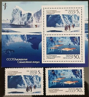 Russia USSR 1990 Sc # 5902 - Sc # 5903 Antarctic Mint MNH Stamps Mini Sheet Set